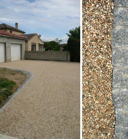 Allée en gravier Garonne et pavé de granit gris