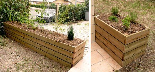 bacs, jardinières en bois